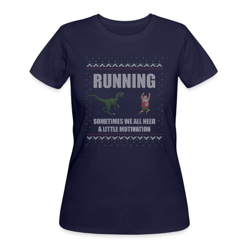 Ugly Christmas Sweater Running Dino and Santa - Women's 50/50 T-Shirt