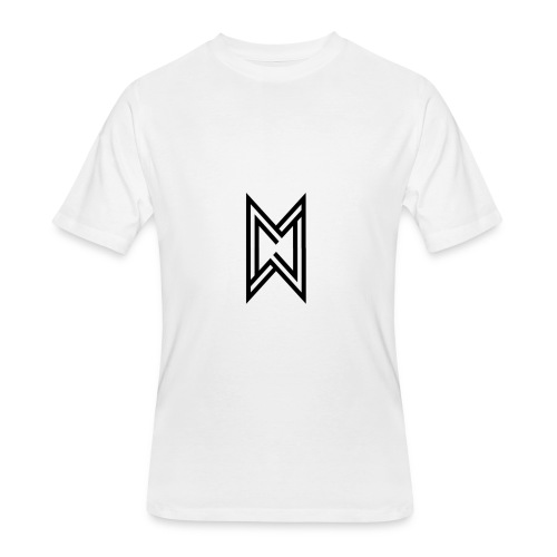 Black Logo White T-Shirt - Men's 50/50 T-Shirt