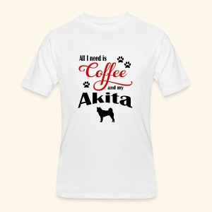 Akita and my need of Coffee - Men's 50/50 T-Shirt