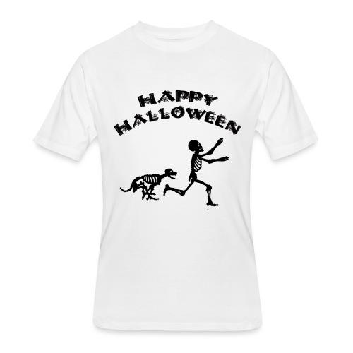 Halloween Boy and Dog - Men's 50/50 T-Shirt