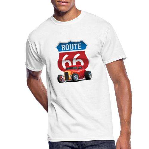 Route 66 Sign with Classic American Red Hotrod - Men's 50/50 T-Shirt