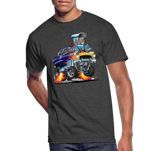 Classic Fifties Hot Rod Muscle Car Cartoon - Men's 50/50 T-Shirt