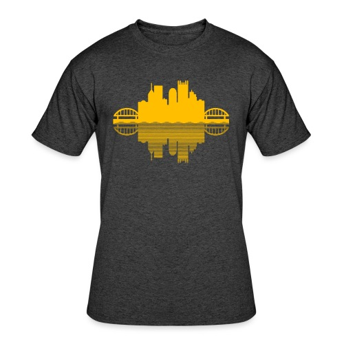 Pittsburgh Skyline Reflection (Gold) - Men's 50/50 T-Shirt