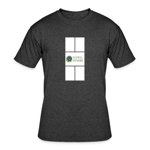 Global Pickleball Network Logo on White Court - Men's 50/50 T-Shirt