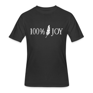 Black T Shirt with White 100% Joy Logo - Men's 50/50 T-Shirt