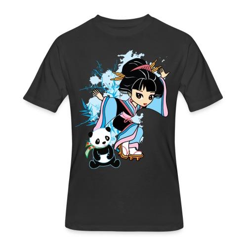 Cartoon Kawaii Geisha Panda Ladies T-shirt by - Men's 50/50 T-Shirt
