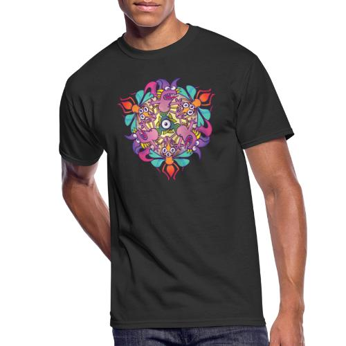 Mosquitoes, bats and fishes in doodle art style - Men's 50/50 T-Shirt