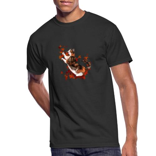 Autumn Cat - cat playing with autumn leaves - Men's 50/50 T-Shirt