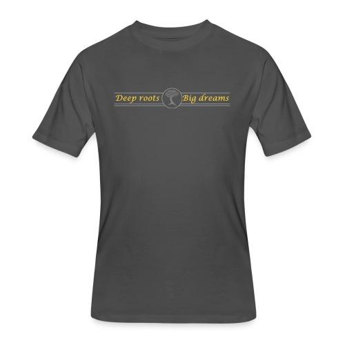 Deep Roots Big Dreams Gold with Tree - Men's 50/50 T-Shirt