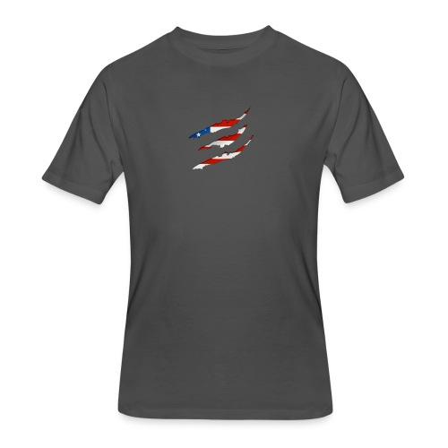 3D American Flag Claw Marks T-shirt for Men - Men's 50/50 T-Shirt