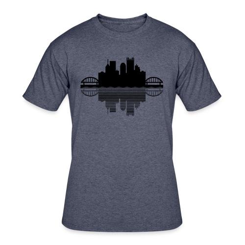 Pittsburgh Skyline Reflection (Black) - Men's 50/50 T-Shirt