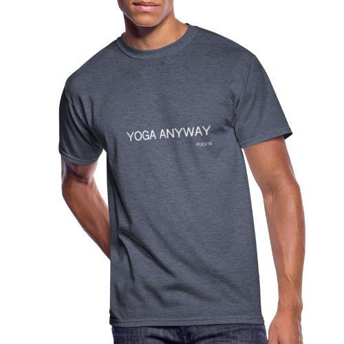 YOGA WHITE font - Men's 50/50 T-Shirt