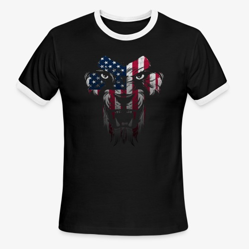American Flag Lion Shirt - Men's Ringer T-Shirt