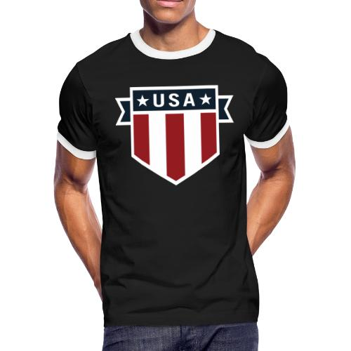 USA Pride Red White and Blue Patriotic Shield - Men's Ringer T-Shirt