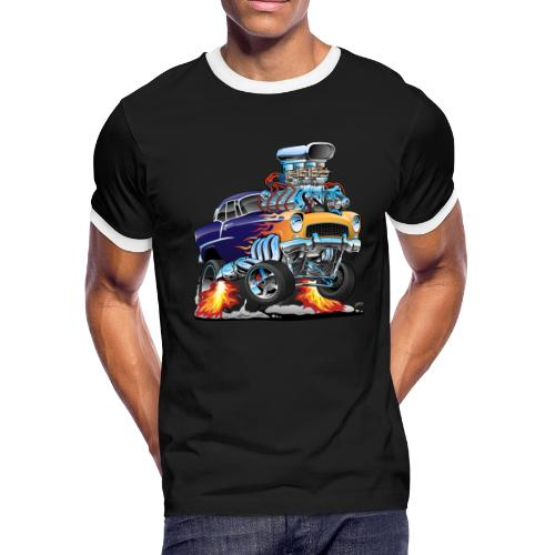 Classic Fifties Hot Rod Muscle Car Cartoon - Men's Ringer T-Shirt