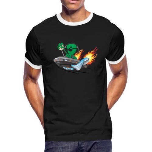 UFO Alien Hot Rod Cartoon Illustration - Men's Ringer T-Shirt