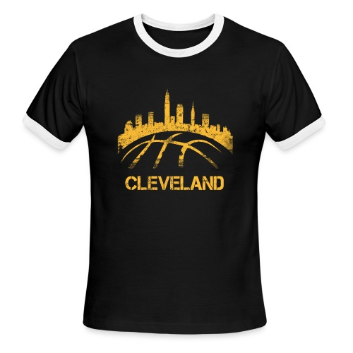 Cleveland Basketball Skyline - Men's Ringer T-Shirt
