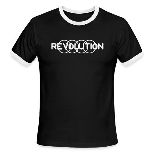 White Revolution Logo - Men's Ringer T-Shirt