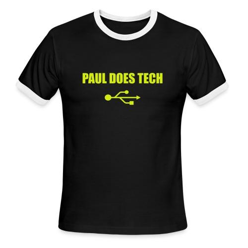 Paul Does Tech Yellow Logo With USB (MERCH) - Men's Ringer T-Shirt