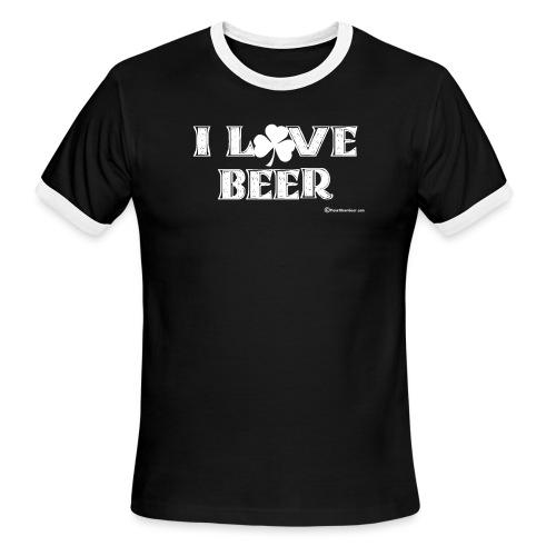 I Love Beer (Shamrock) White - Men's Ringer T-Shirt