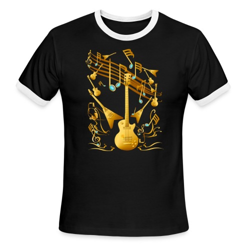 Gold Guitar Party - Men's Ringer T-Shirt