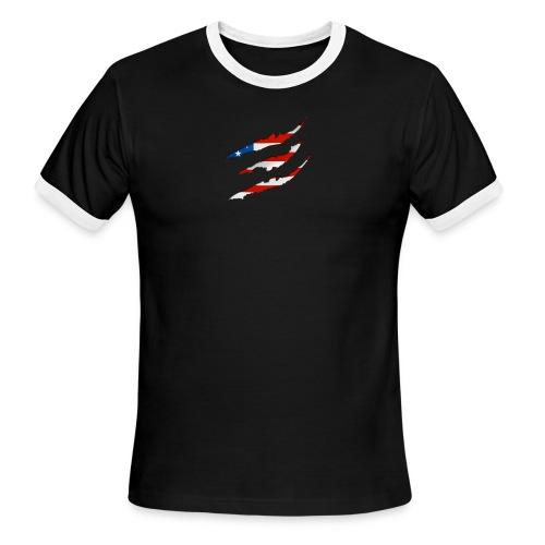 3D American Flag Claw Marks T-shirt for Men - Men's Ringer T-Shirt