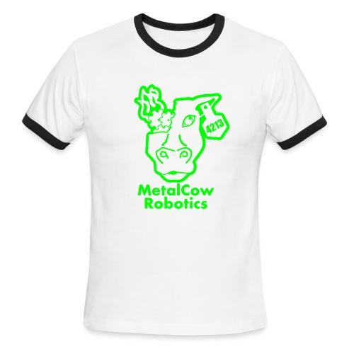 MetalCowLogo GreenOutline - Men's Ringer T-Shirt