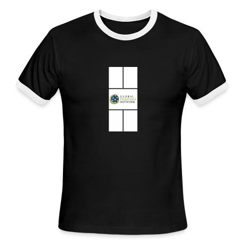 Global Pickleball Network Logo on White Court - Men's Ringer T-Shirt