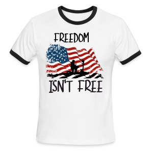Freedom isn't free flag with fallen soldier design - Men's Ringer T-Shirt