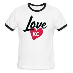 LoveKC Logo Final color - Men's Ringer T-Shirt