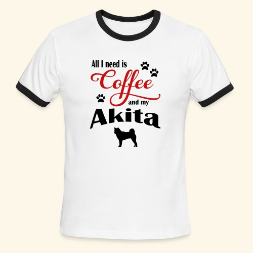 Akita and my need of Coffee - Men's Ringer T-Shirt