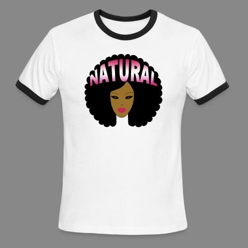 Natural Afro (Pink) - Men's Ringer T-Shirt