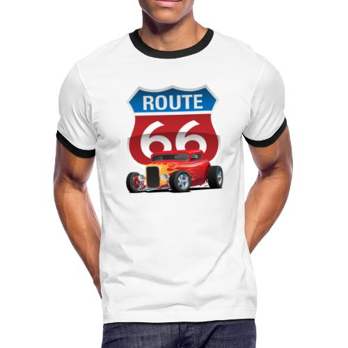 Route 66 Sign with Classic American Red Hotrod - Men's Ringer T-Shirt