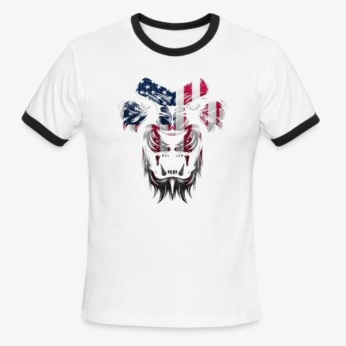 American Flag Lion Shirt - Men's Ringer T-Shirt