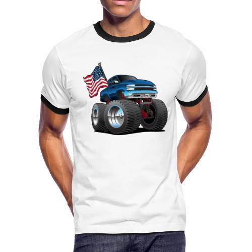 Monster Pickup Truck with USA Flag Cartoon - Men's Ringer T-Shirt