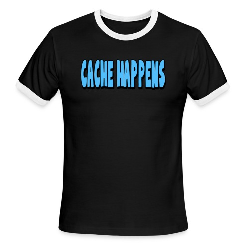 cache happens 7x3 300dpi png - Men's Ringer T-Shirt
