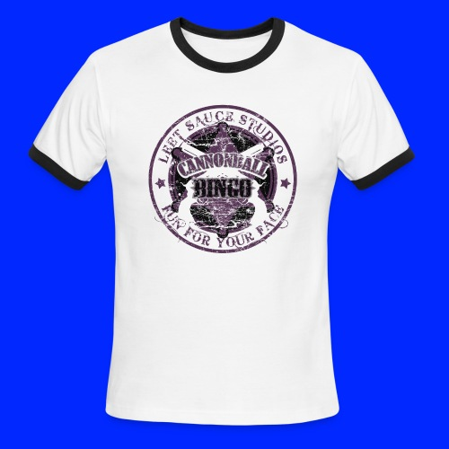 Vintage Cannonball Bingo Badge All Purple - Men's Ringer T-Shirt