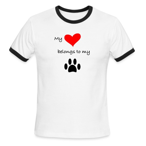 Dog Lovers shirt - My Heart Belongs to my Dog - Men's Ringer T-Shirt