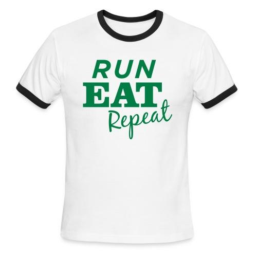 Run Eat Repeat buttons medium - Men's Ringer T-Shirt