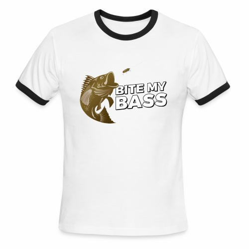 Bass Chasing a Lure with saying Bite My Bass - Men's Ringer T-Shirt