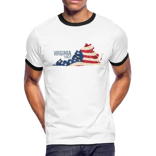 Virginia 1607 with USA Stars and Stripes - Men's Ringer T-Shirt