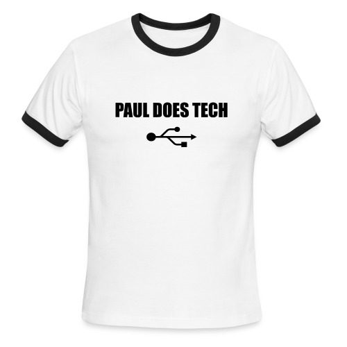 Paul Does Tech Logo Black with USB - Men's Ringer T-Shirt