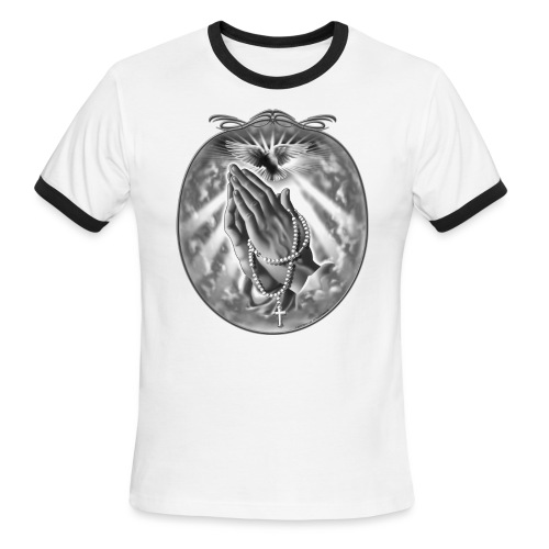 Praying Hands by RollinLow - Men's Ringer T-Shirt