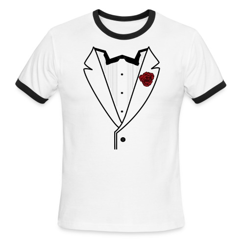 Tuxedo w/Black Lined Lapel - Men's Ringer T-Shirt