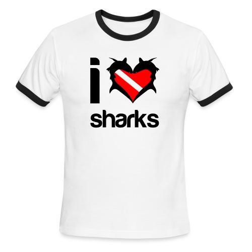 I Love Sharks - Men's Ringer T-Shirt