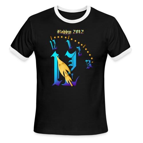 Happy 2012-Clock Striking 12:NM - Men's Ringer T-Shirt