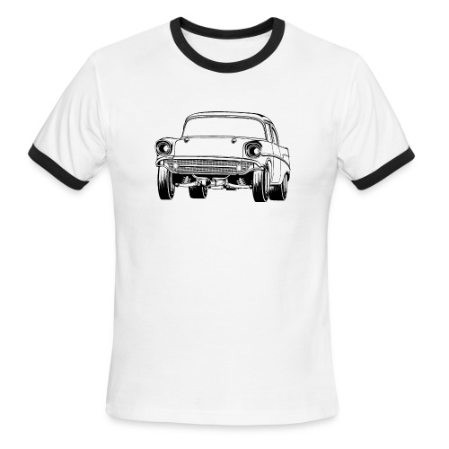 Gasser Up 1957 Chevy Drag Car - Men's Ringer T-Shirt