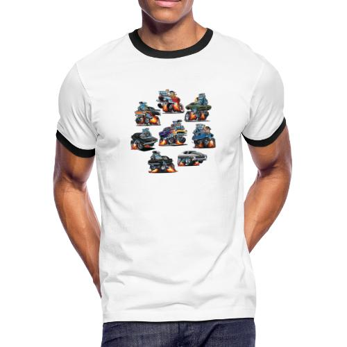 Car Crazy Classic Hot Rod Muscle Car Cartoons - Men's Ringer T-Shirt