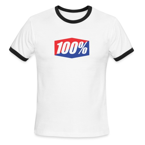 100% Logo Design - Men's Ringer T-Shirt