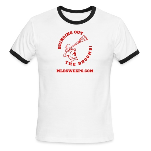 MLB Sweeps Logo and tagline with URL (Light) - Men's Ringer T-Shirt